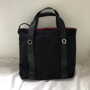 AUTH BVLGARI BLACK LOGOMANIA CANVAS TOTE HANDBAG!!